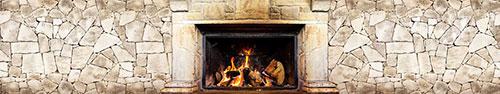 Скинали - Каменная стена и камин с огнем