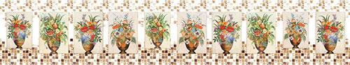 Скинали - Цветы в вазах мозаикой на стене из мелкой плитки