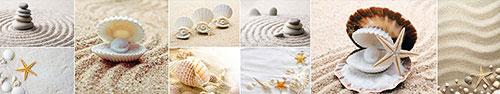 Скинали - Коллаж с морскими звездами, камушками и ракушками