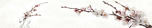 Скинали - Ветки сакуры на фоне с геометрическим узором