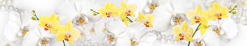 Скинали - Желтые, белые орхидеи с жемчугом