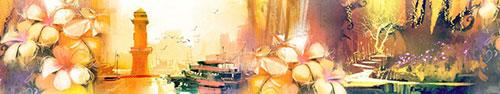 Скинали - Маяк, цветы, волшебное дерево - рисунки маслом