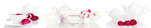 Скинали - Нежная композиция из чайников с розами и зефиром