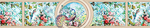 Скинали - Рисунок райского места в стиле витражной техники