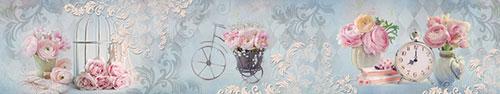Скинали - Нежные цветы на светло-голубом фоне