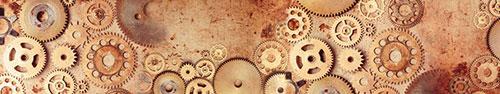 Скинали - Шестерни старых часов, фон в стиле стимпанк