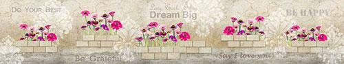Скинали - Яркие цветы на стене с трещинами и вдохновляющими надписями