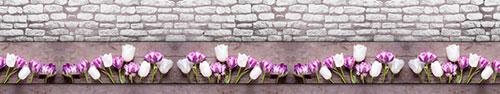 Скинали - Тюльпаны на деревянно-кирпичном фоне