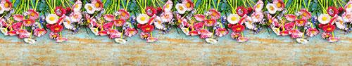 Скинали - Яркие цветочки на старом деревянном столе