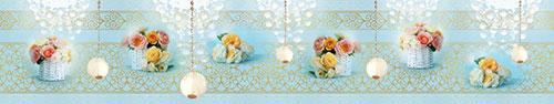 Скинали - Нежно-голубой фон с цветами в корзинках