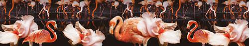 Скинали - Фламинго и нежные ирисы на темном фоне