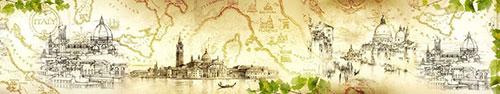 Скинали - Винтажный фон с рисунками итальянских городов