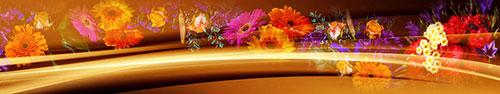Скинали - Цветы на темном фоне с абстракцией