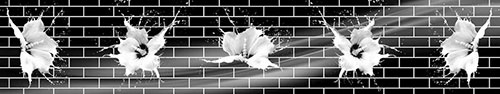 Скинали - Белые цветы на фоне кирпичной стены