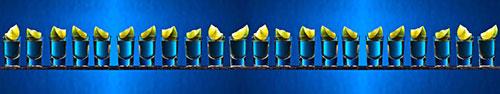 Скинали - Текила с лаймом на ярко-синем фоне