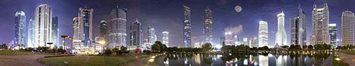 Скинали - Ночная панорама Шанхая