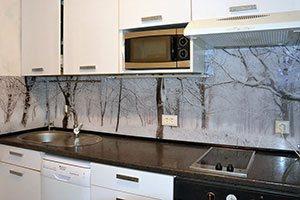 Снег для скинали в интерьере кухни - 22422