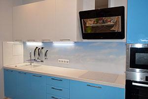 Пингвины для скинали в интерьере кухни - 22474