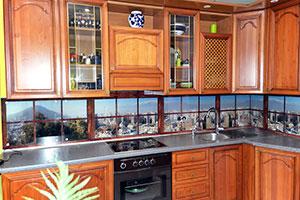 Вид из окна для скинали в интерьере кухни - 22281