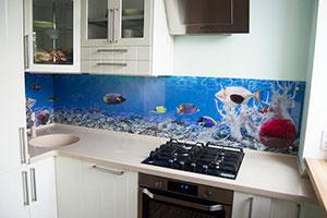 Рыбы для скинали в интерьере кухни - 22305