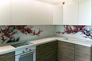 Вишня, яблоня для скинали в интерьере кухни - 22307