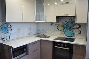 Цветочные для скинали в интерьере кухни - 22356