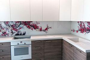 Вишня, яблоня для скинали в интерьере кухни - 22370