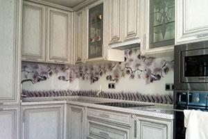 Орхидеи для скинали в интерьере кухни - 22252